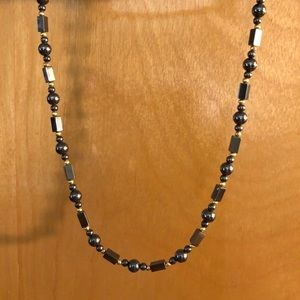 HEMATITE NECKLACE WITH ROUND AND BAR BEADS & GOLD